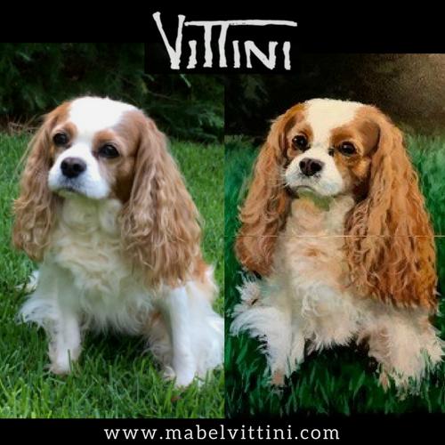 Original Photo next to hand painted canvas pet portrait.