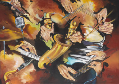 """""""Live"""" Painting at PGA Resort with Spyro Gyro, painted by Mabel Vittini. Autographed by all musicians. Original Acrylic on Canvas 36in x 48in"""
