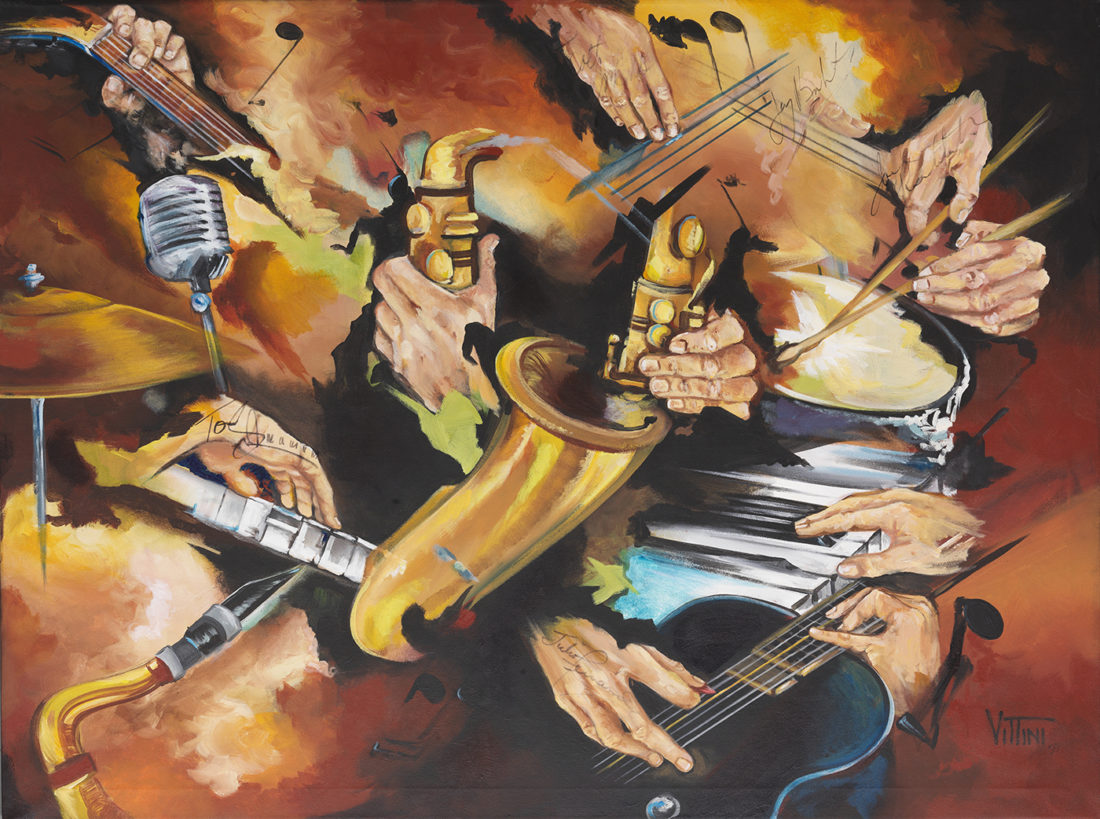 """Spyro Gyra signed abstract by Mabel Vittini during performance at PGA National Resort & Spa """"The Poolside Concert Series."""""""