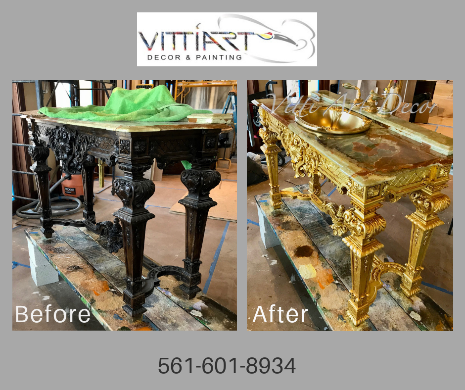 A before and after picture of a bathroom vanity that was gold-leafed.