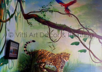 Mural of Rainforest Jaguar Maccaw section by Mabel Vittini