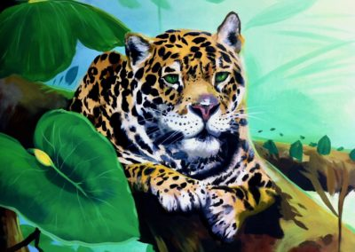 Portion of mural - Young Jaguar in Foliage