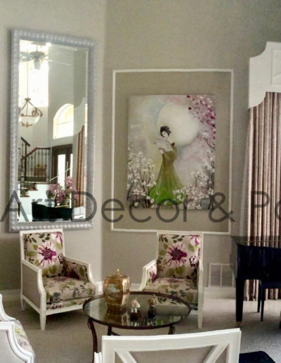 Living room with commissioned canvas art by Mabel Vittini