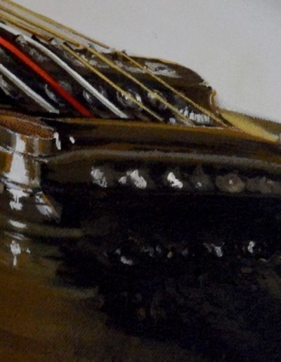 """Fine Art by Mabel Vittini. Close up of electric guitar painting called """"Open A String"""""""