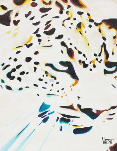 Abstract Fine Art on Canvas Spotted Jaguar Face by Mabel Vittini