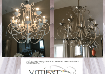 Before and after of chandelier that was faxed in metallic paint