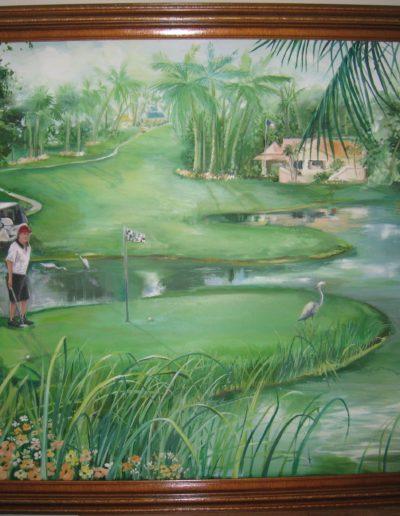 Couple on golf course near home