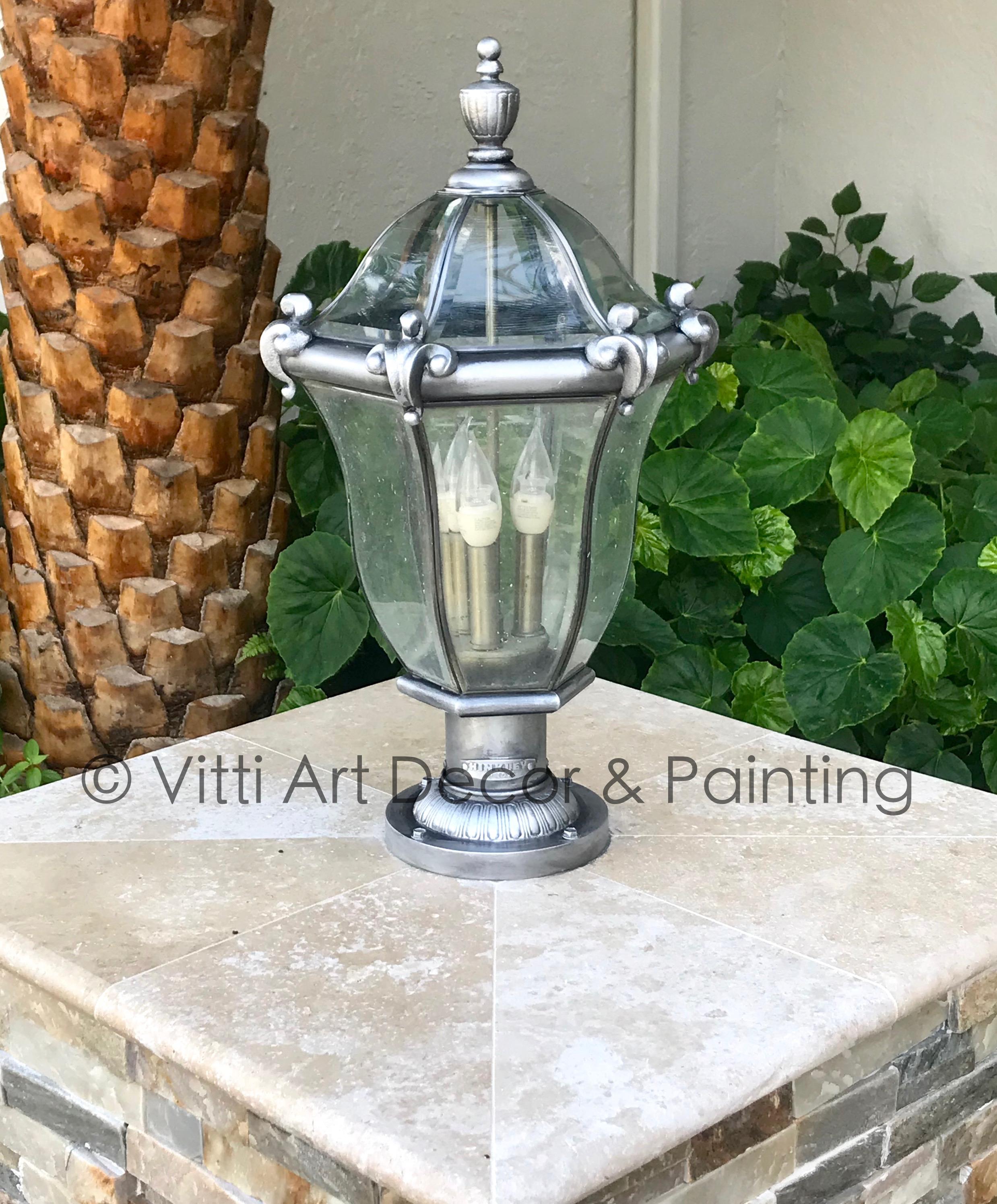 refinish chrome metallic finish exterior lighting fixtures jupiter florida paint faux