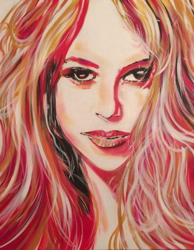 red shakira pop art by Mabel Vittini
