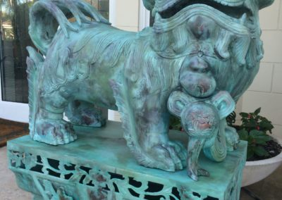 2 large Foo Dog statues Re-Finished to Patina