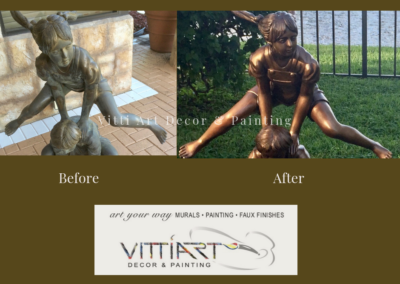 Before and After image of exterior statue of girl playing