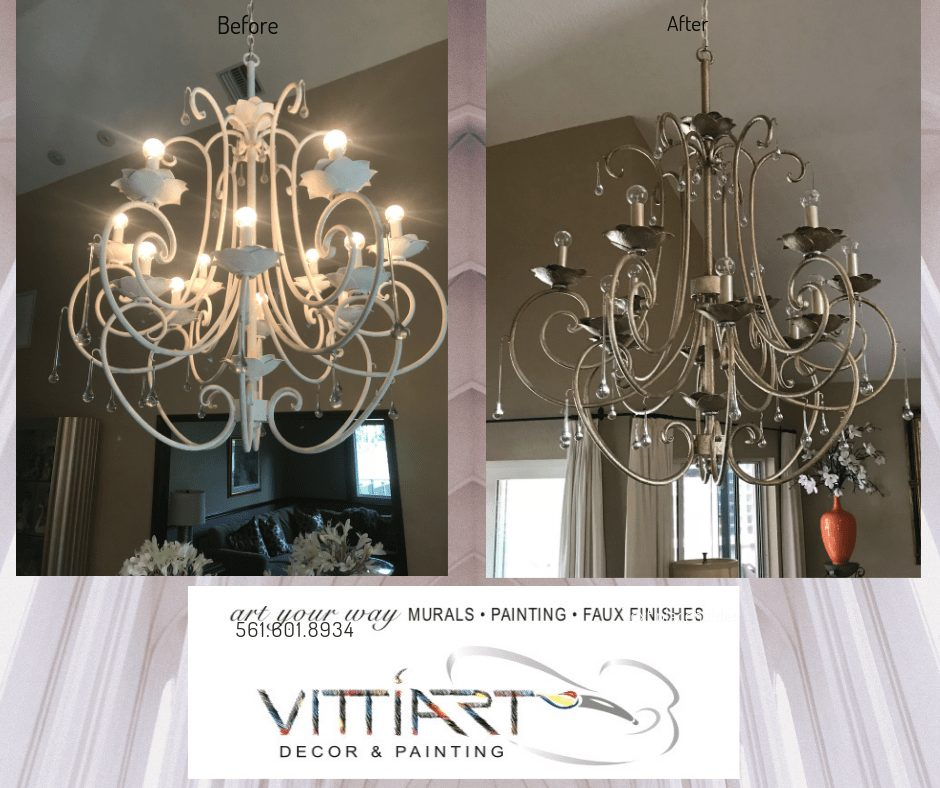 Chandelier faux to blend into room color