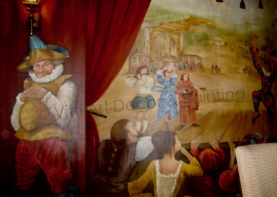 The Harlequin Show Mural and Custom Ceiling in a Tuscan Style Estate Dining Room in Parkland FL.