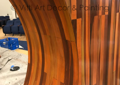 Altar at a temple in Boca Raton, hand painted faux wood grain pattern
