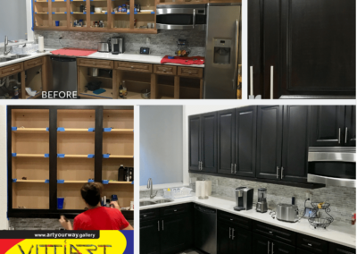 Painting refinishing cabinets from oak to espresso color