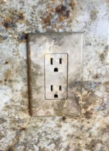 faux receptacle outlet switches to blend with backsplash