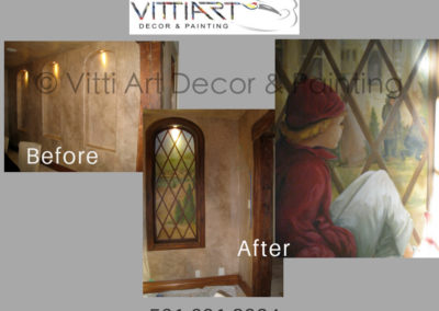 Before and after of Trompe l'oeil images hand painted by Mabel Vittini
