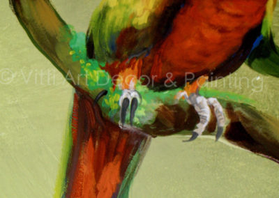 """""""Red Golden Macaw"""" portion of Rainforest mural by Mabel Vittini"""