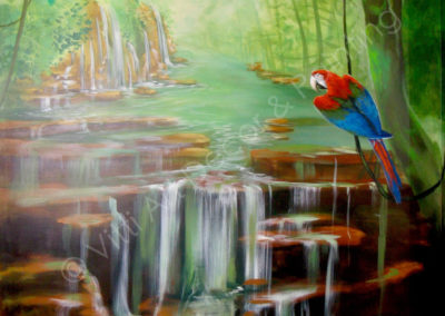 Scarlett Macaw and Waterfall Rainforest Scene