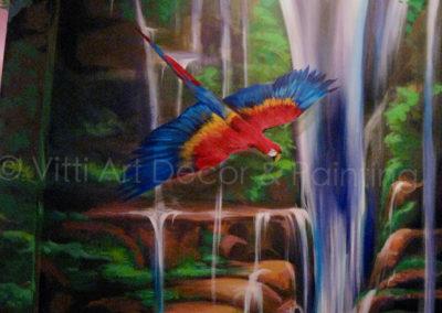Waterfall & Scarlett Macaw Rainforest Mural in Pompano Beach by Mabel Vittini