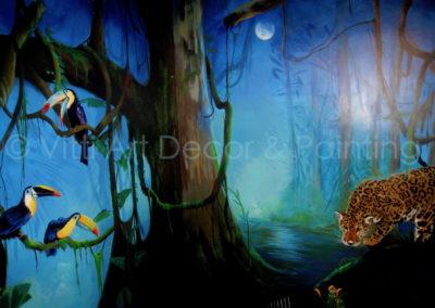 Jaguar and Toucans Rainforest Mural by Mabel Vittini
