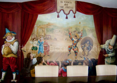 """""""The Harlequin Show"""" Mural in Dining Room by Mabel Vittini"""