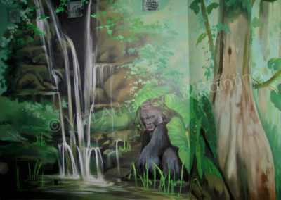 Gorilla and Large Tree. Portion of Rainforest Mural by Mabel Vittini