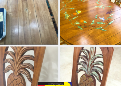 Recover old dining room set Paint wood grain